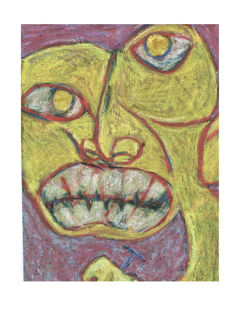 Angry nailer (18), March 12, 1978, pastel on paper, 22.8 x 30.4 cm