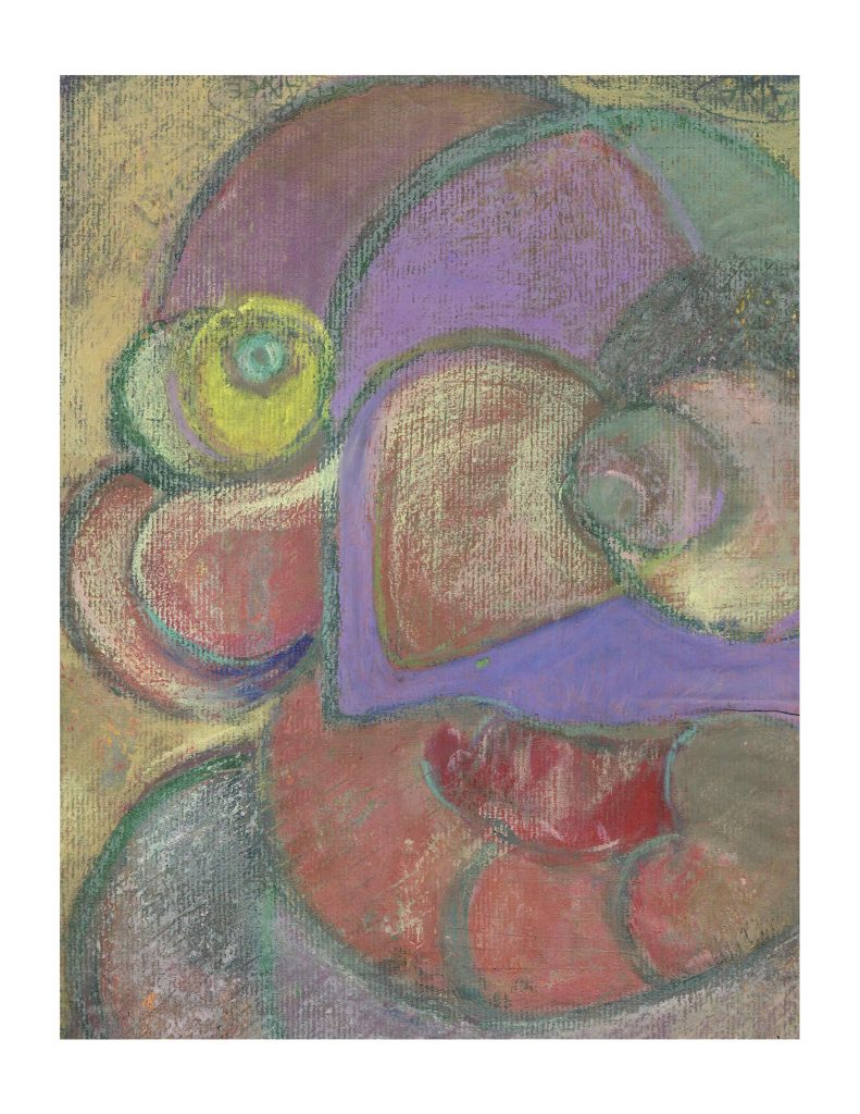 Blue eye face (13), Feb 23, 1978, pastel on paper, 22.8 x 30.4 cm
