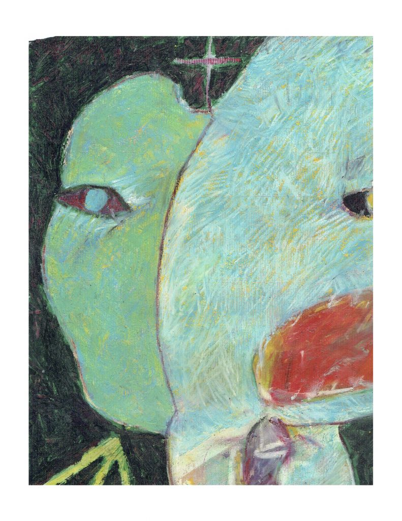 Blue green face (4), Feb 16, 1978, pastel on paper, 22.8 x 30.4 cm
