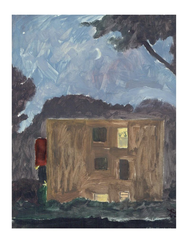 Building at Sunset, July 26, 1982, pastel and oil paint on paper, 21.5 x 27.9 cm