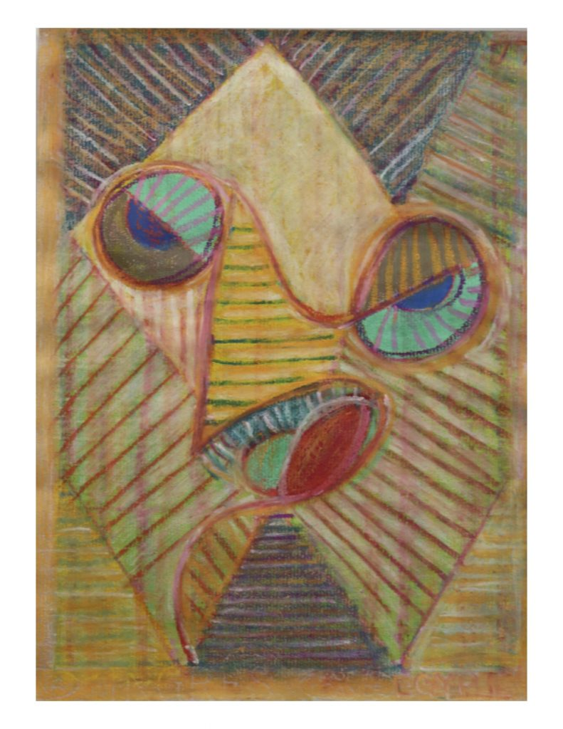 Egypt face (3), gouache and pastel on brown Ingres paper, 22.7 x 30.4 cm