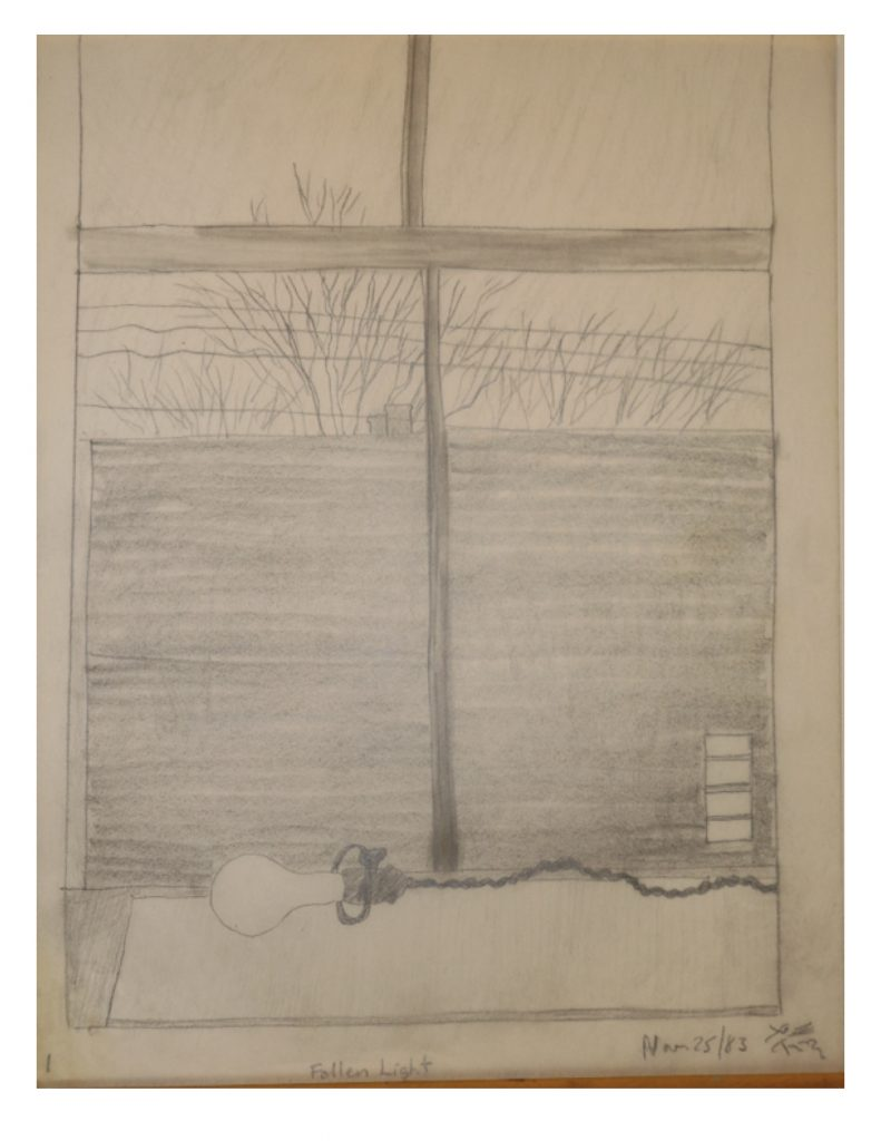 Fallen Light, Nov 25, 1983, pencil on paper, 21.6 x 28 cm