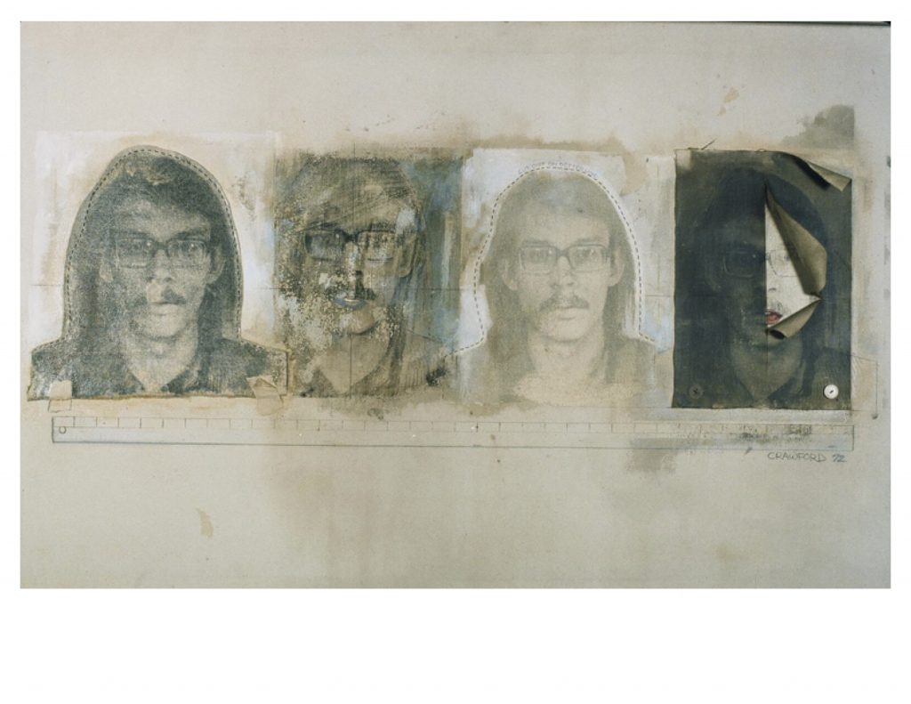 Four Self Portraits with Yardstick, Feb.1972, photo emulsion, acrylic paint, pencil, thread, buttons on canvas, 32 x 48