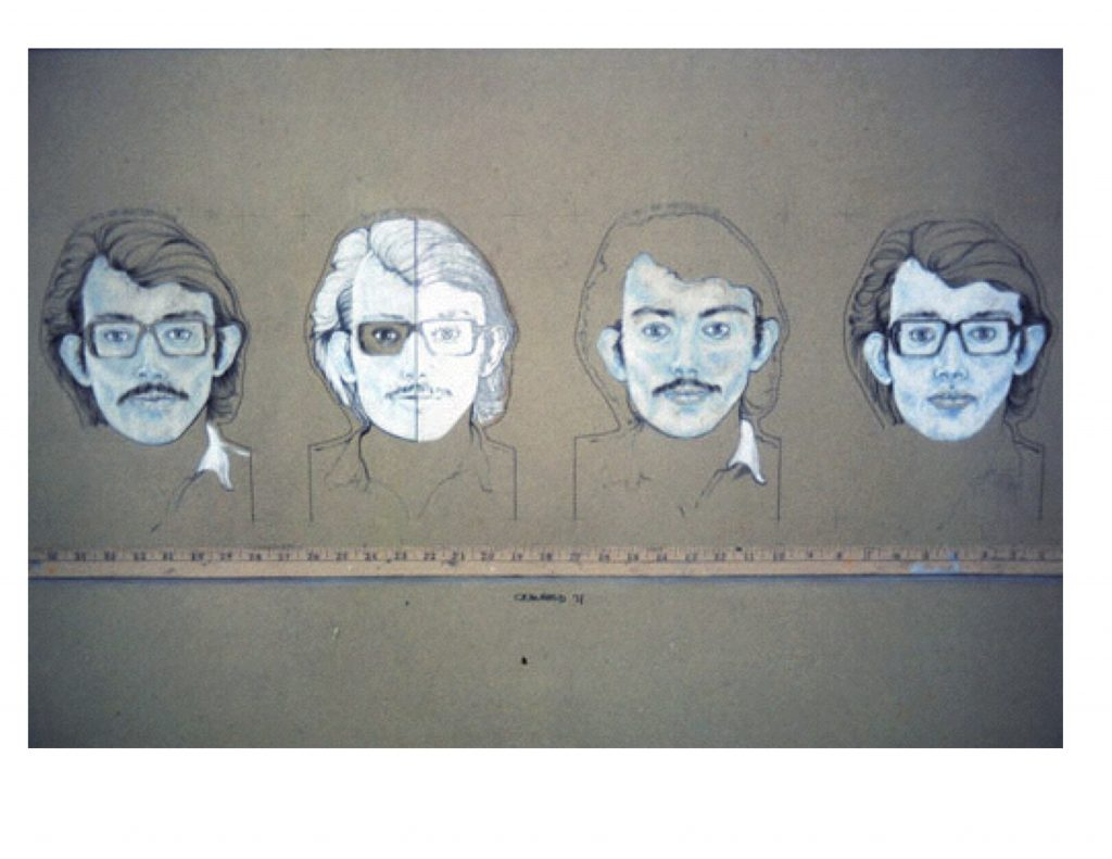 Four self portraits with yardstick, dwg 1971, 33 x 91.4 cm
