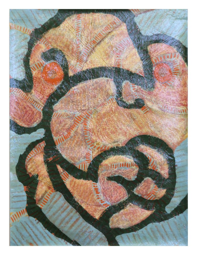 Green line face (6), April 1977, oil pastel, gouache and varathane on green Ingres paper, 22.7 x 30.4 cm