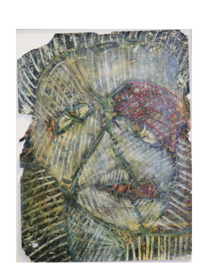 Grey green face (10), March 1977, oil pastel, gouache, wax and varnish on light yellow Ingres paper, 22.7 x 30.4 cm