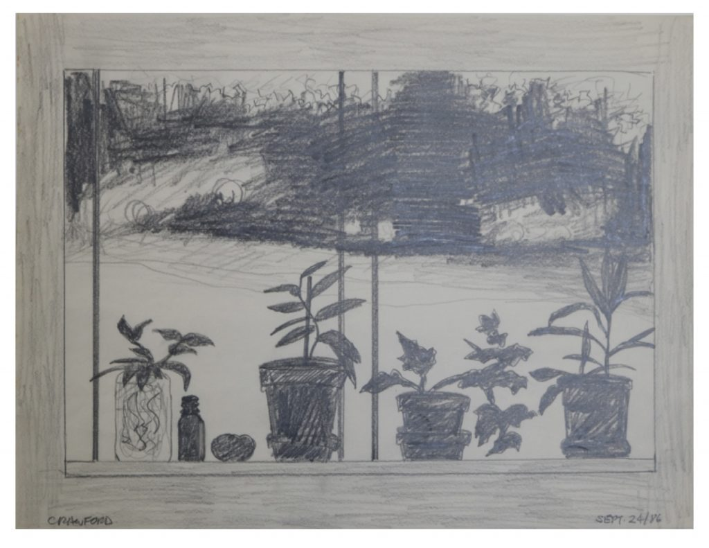 Hyde Park Studio, Sept 24, 1986, pencil on paper, 21.5 x 27.9 cm