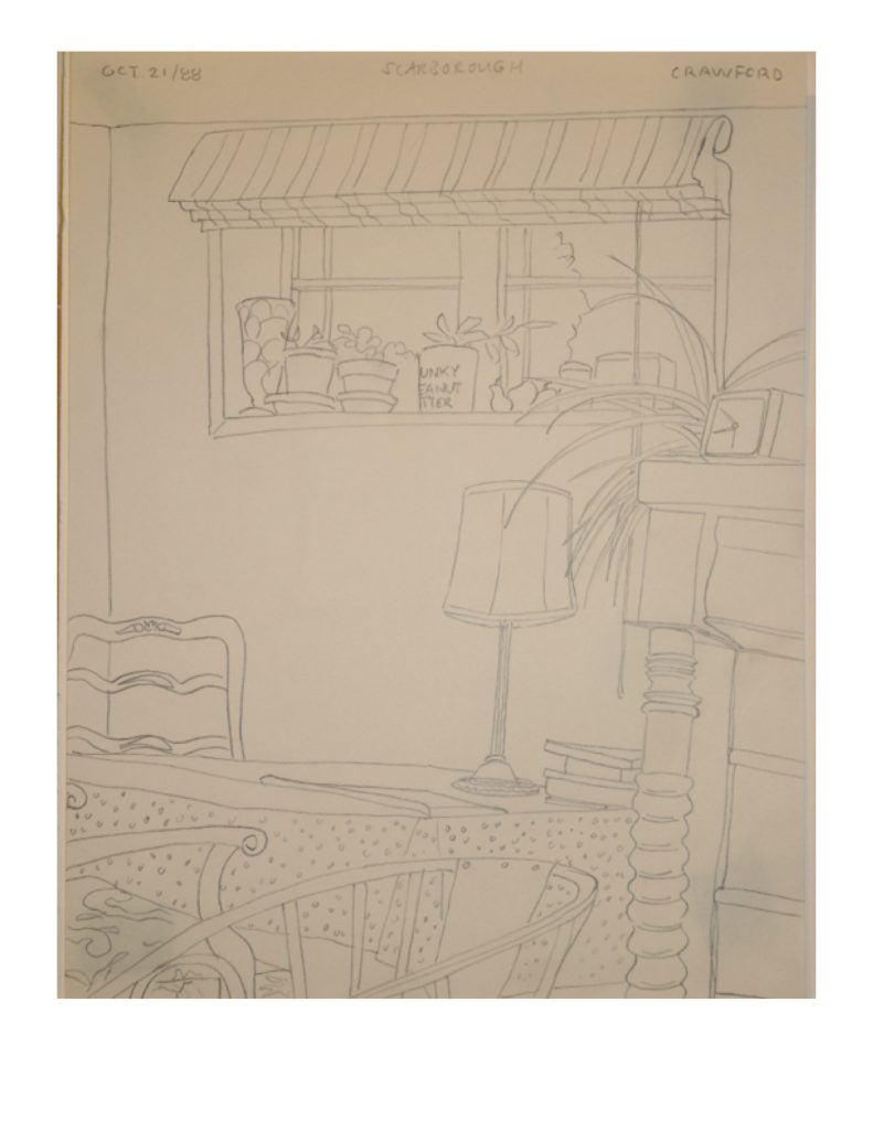 Minnecote, Scarborough, Oct 21, 1988, pencil on paper, 21.6 x 28 cm