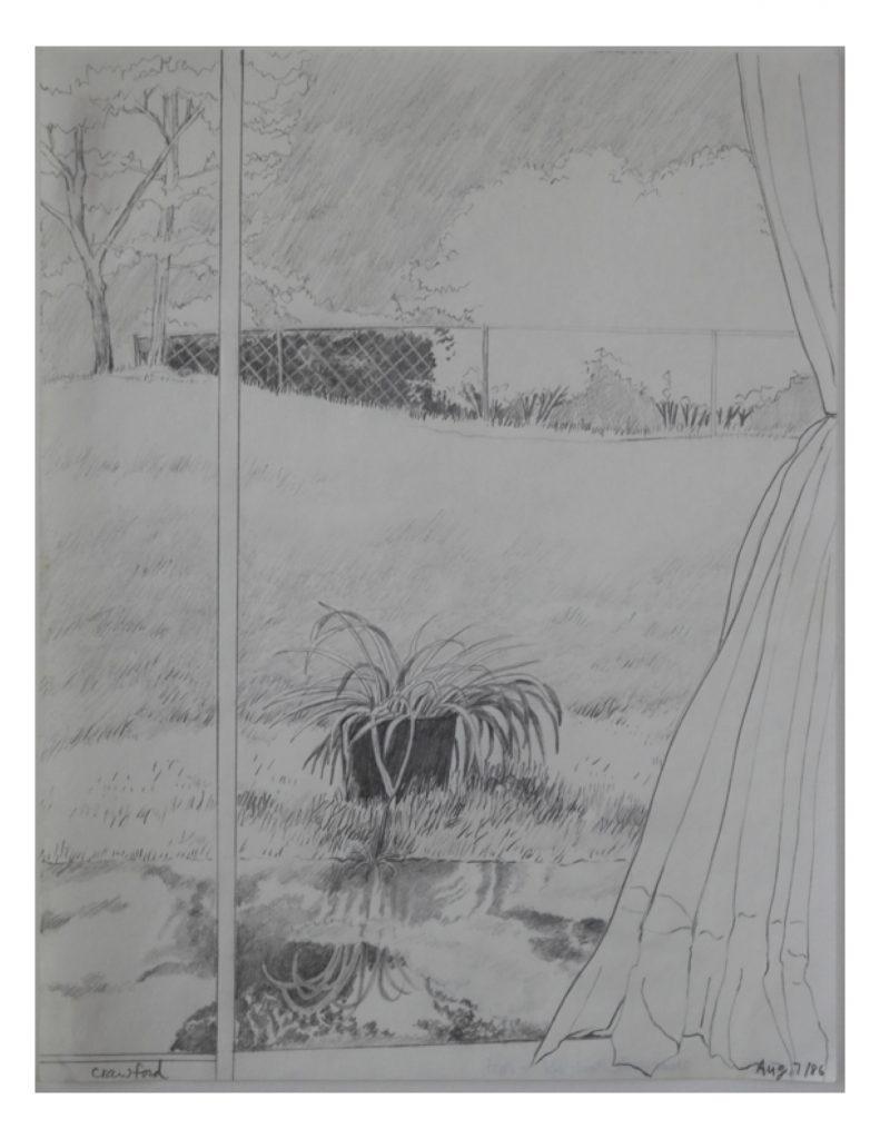 Near Hyde Park Road - Apt., Aug 7, 1986, pencil on paper, 21.6 cm x 27.9 cm