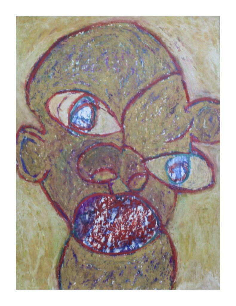 Ochre face (15), April 1977, oil pastel on board, 22.9 x 30.5 cm