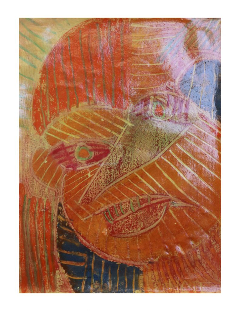 Orange face (4), March 1977, oil pastel, gouache and urethane on light yellow Ingres paper, 22.7 x 30.4 cm