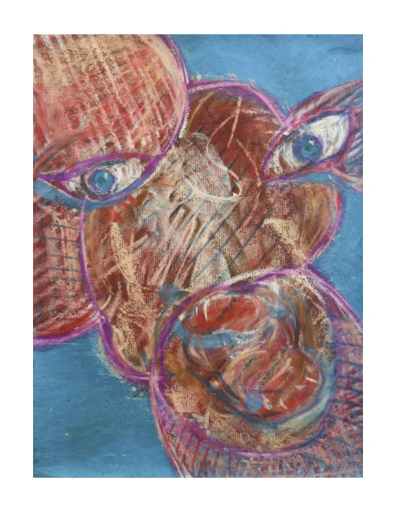 Pink face (5), March 1977, oil pastel, gouache and urethane on brown Ingres paper, 22.7 x 30.4 cm