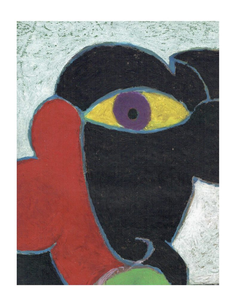 Purple eye face (6), Feb 20, 1978, pastel on paper, 22.8 x 30.4 cm