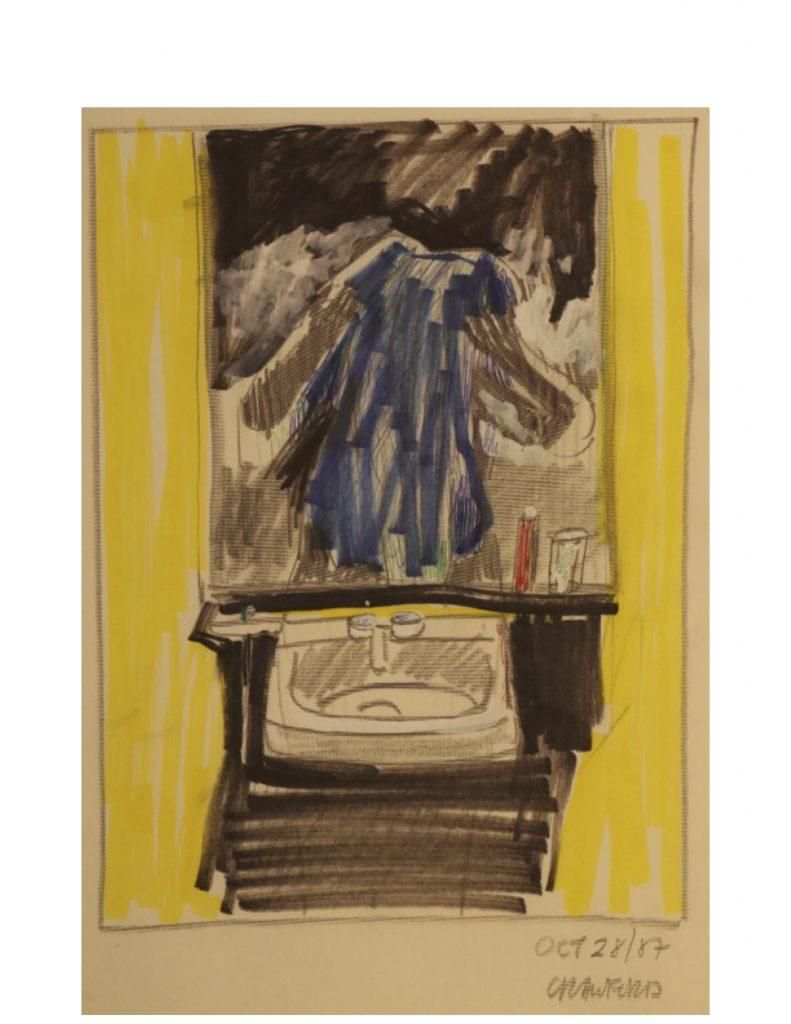Self portrait, Oct 28, 1987, pencil and marker on paper, 21.5 cm x 28 cm