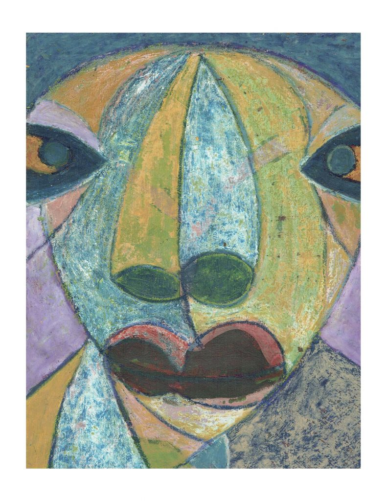 Serious face (12), Feb 23, 1978, pastel on paper, 22.8 x 30.4 cm