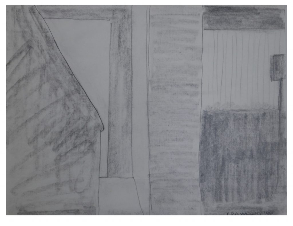 Shadows after midnight, April 21, 1988, pencil on paper, 21.5 x 27.9 cm
