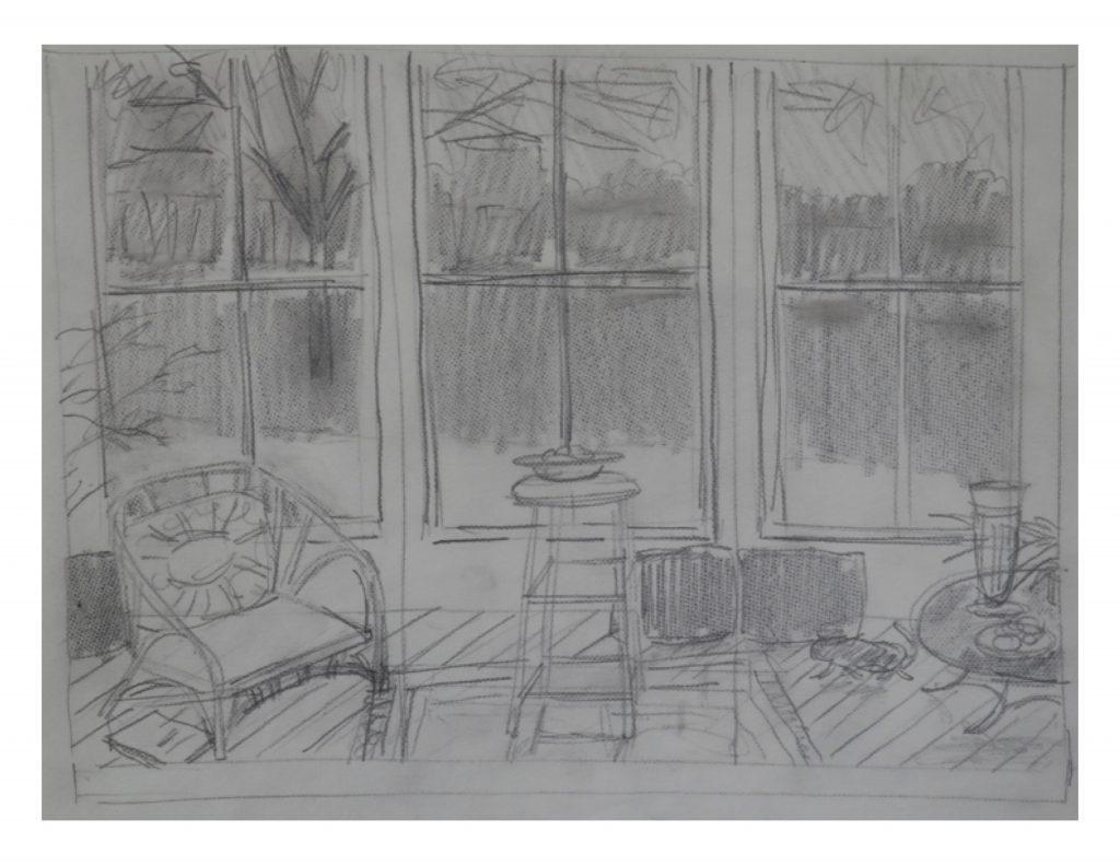 Studio windows, Dec 22, 1986, pencil on paper, 27.8 cm x 21.7 cm