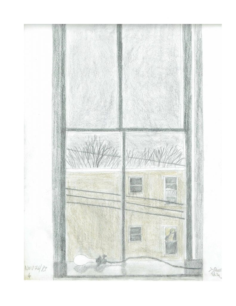 Talbot St Studio window, Nov 26, 1983, pencil on paper, 21.5 x 27.9 cm