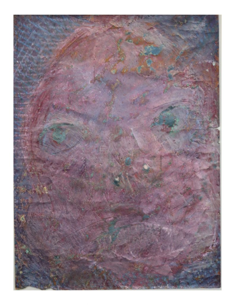 Violet face (13), March 1977, oil pastel and wax on dark green Ingres paper, 22.7 x 30.4 cm