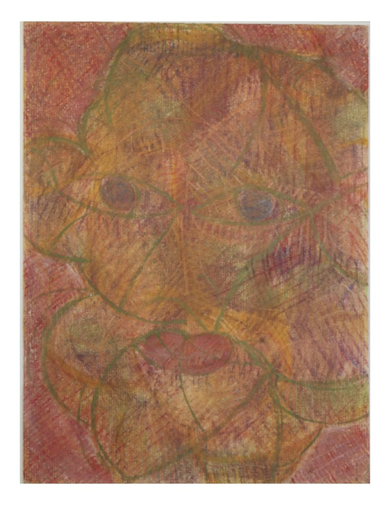 Warm face smiling (2), March 1977, Oil and chalk pastel on yellow Ingres paper, 22.7 x 30.4 cm