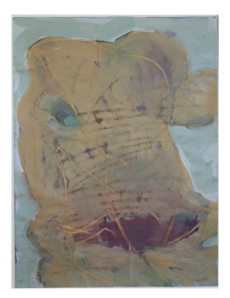 Yellow Face (1), March 1977, gouache and pastel on blue Ingres paper, 22.8 x 30.4 cm