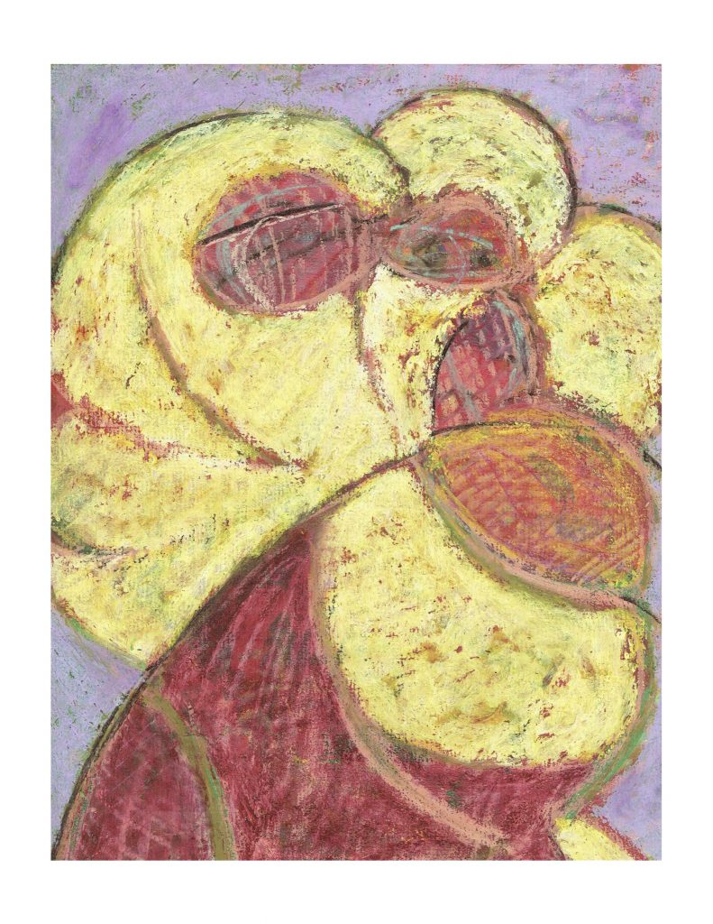 Yellow face howl (11), Feb 23, 1978, pastel on paper, 22.8 x 30.4 cm