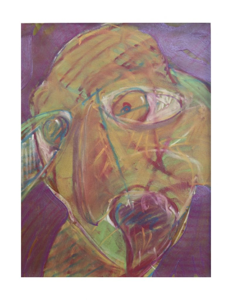Yellow purple face (7), April 1977, oil pastel and oil paint on green Ingres paper, 22.7 x 30.4 cm
