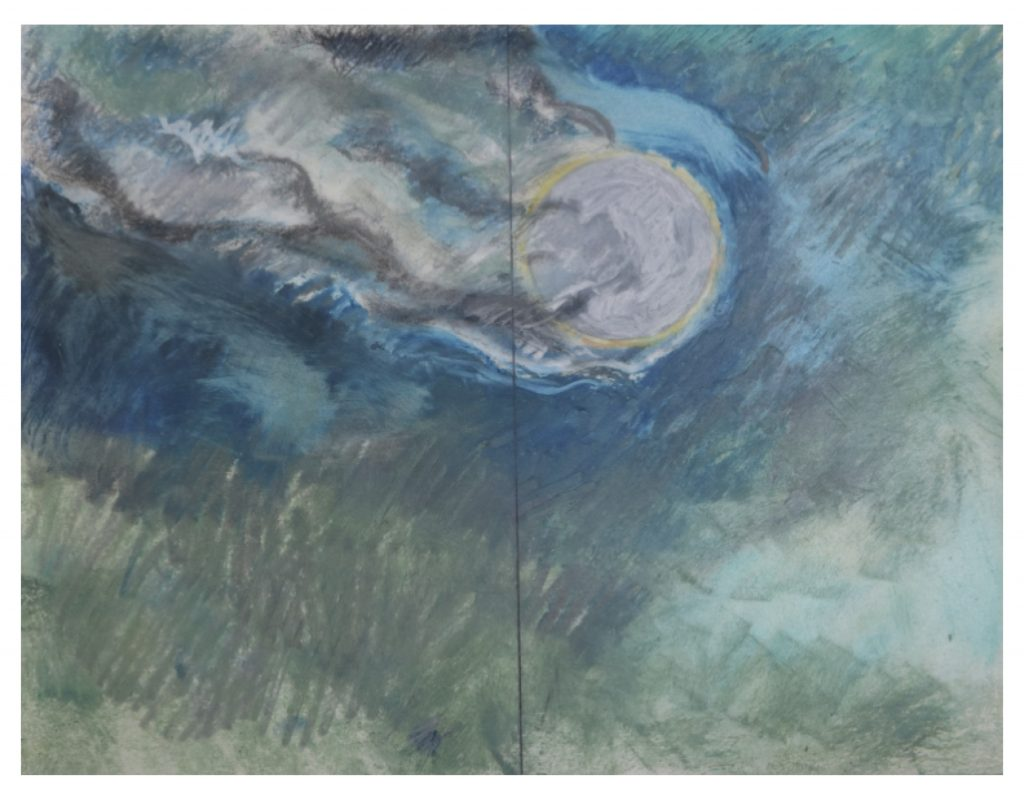 Diptych, Study for Landscape with Moon (2 left hand panels) , Jan 28, 1982, pencil and pastel on paper, 21.5 x 27.9 cm