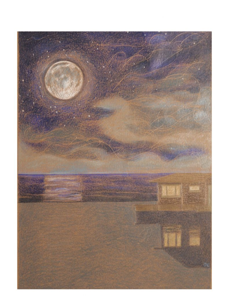 Moon and Cottage, Red Bay, for Emily, Jan 12, 2013, 19.9 x 27.4 cm (image)