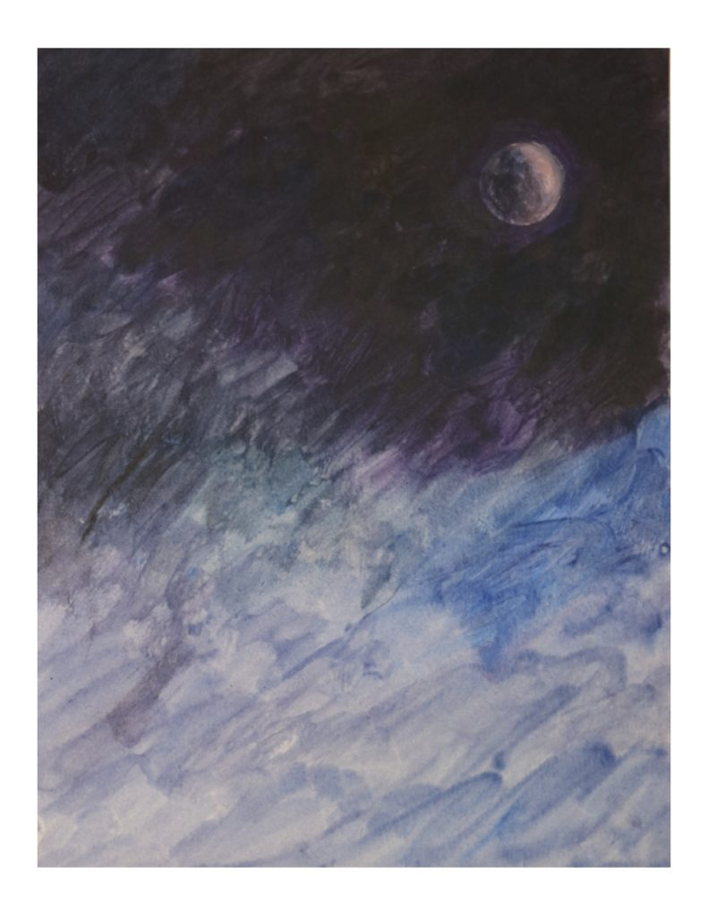 Moon in dark night sky, Lunar eclipse, Aug 16, 1989, acrylic on paper, 22.7 x 30.2 cm