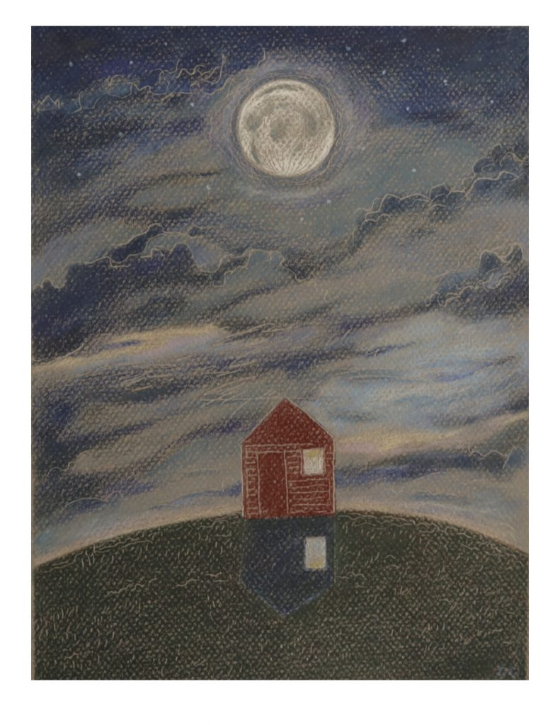 Winter Moon and House for Laila, Jan 3, 2013, 20.3 x 27.3 cm (image)