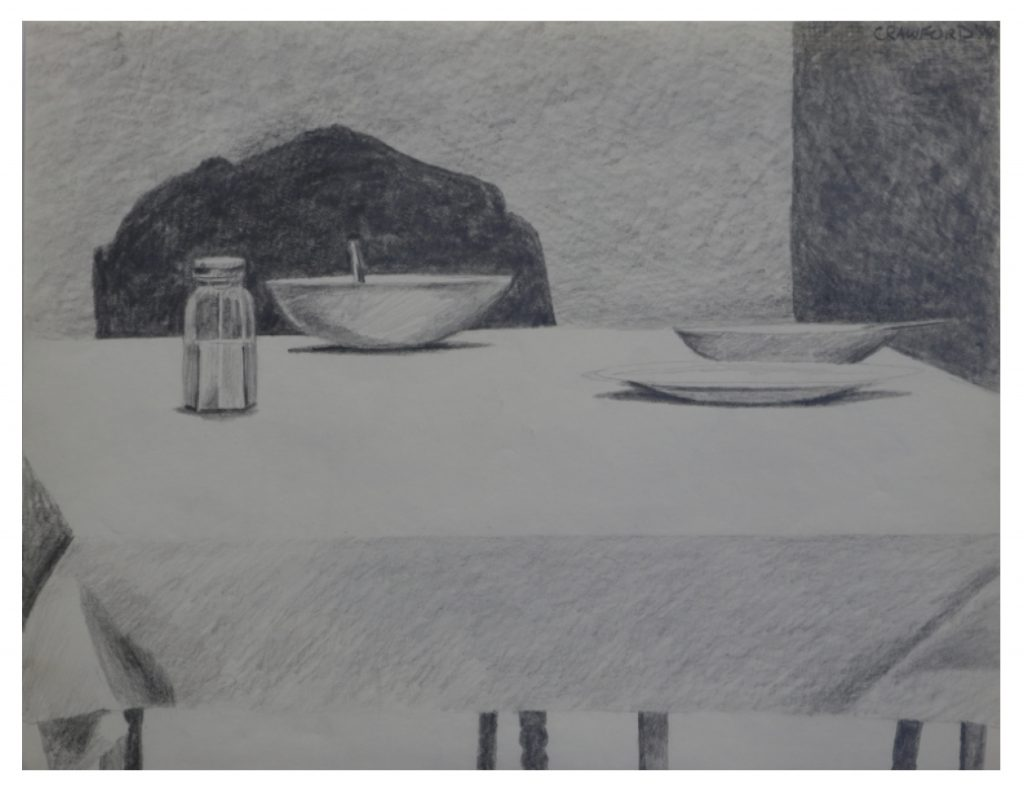 Bowl of soup and salt shaker, Jan 21, 1988, pencil on paper, 21.5 x 27.9 cm