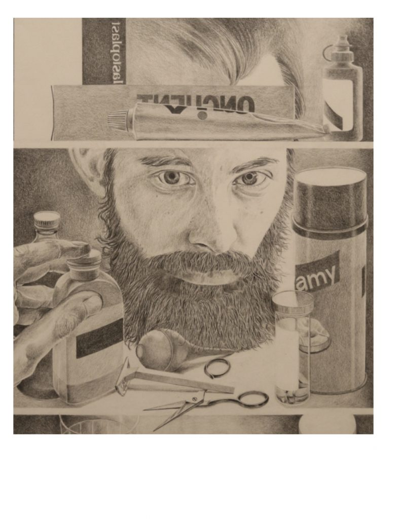 Detail, Self portrait with medicine cabinet, 1984, drawing