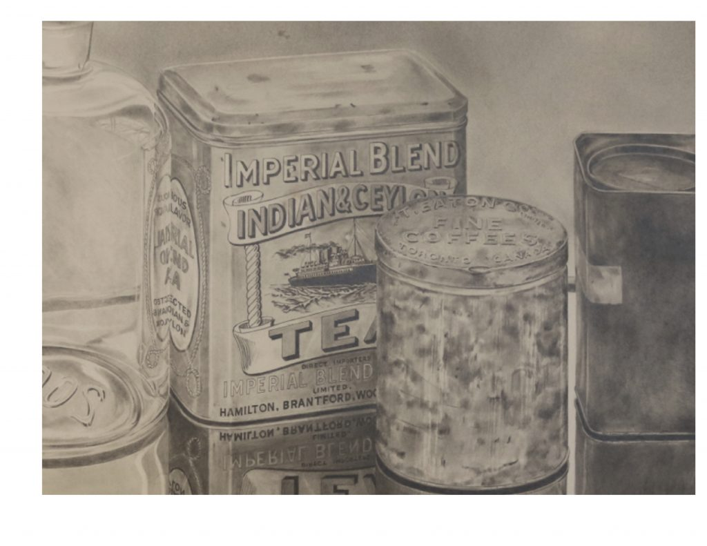 Detail, Tins and bottle, 1981, drawing