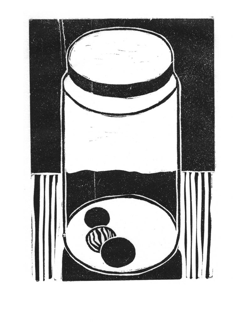 Jar C, Oct 23, 1987, reduction lino print