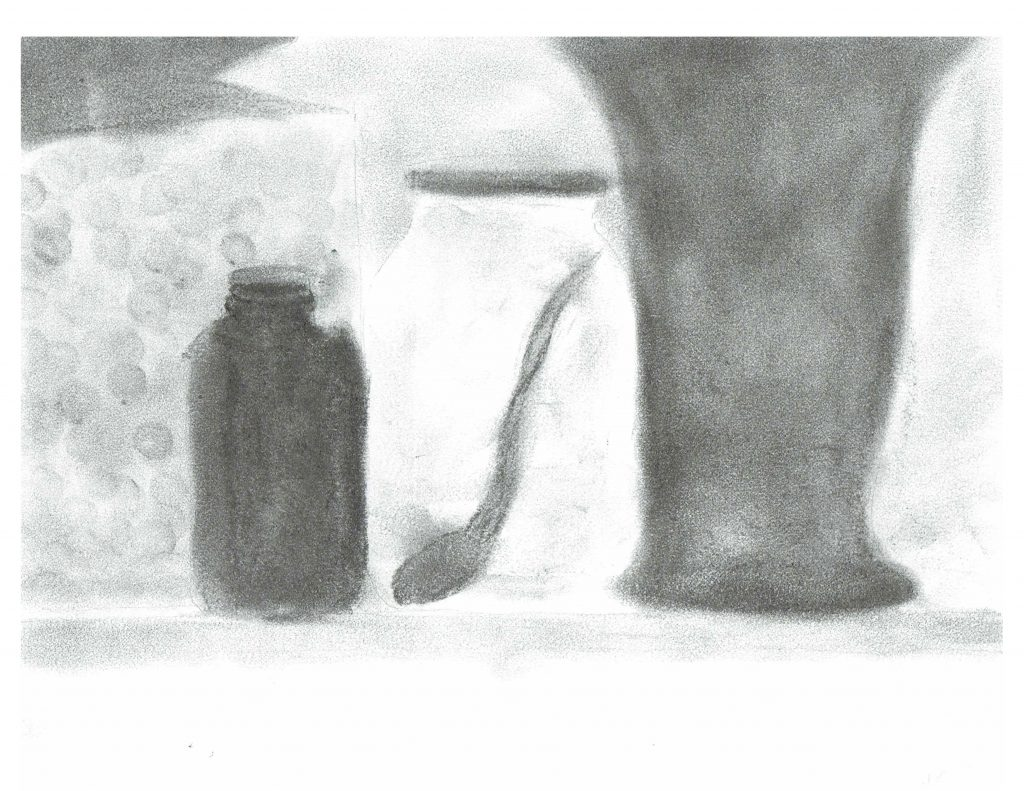 Jars on window sill - Summer, June 28, 2016, graphite on paper, 21.5 x 27.9 cm