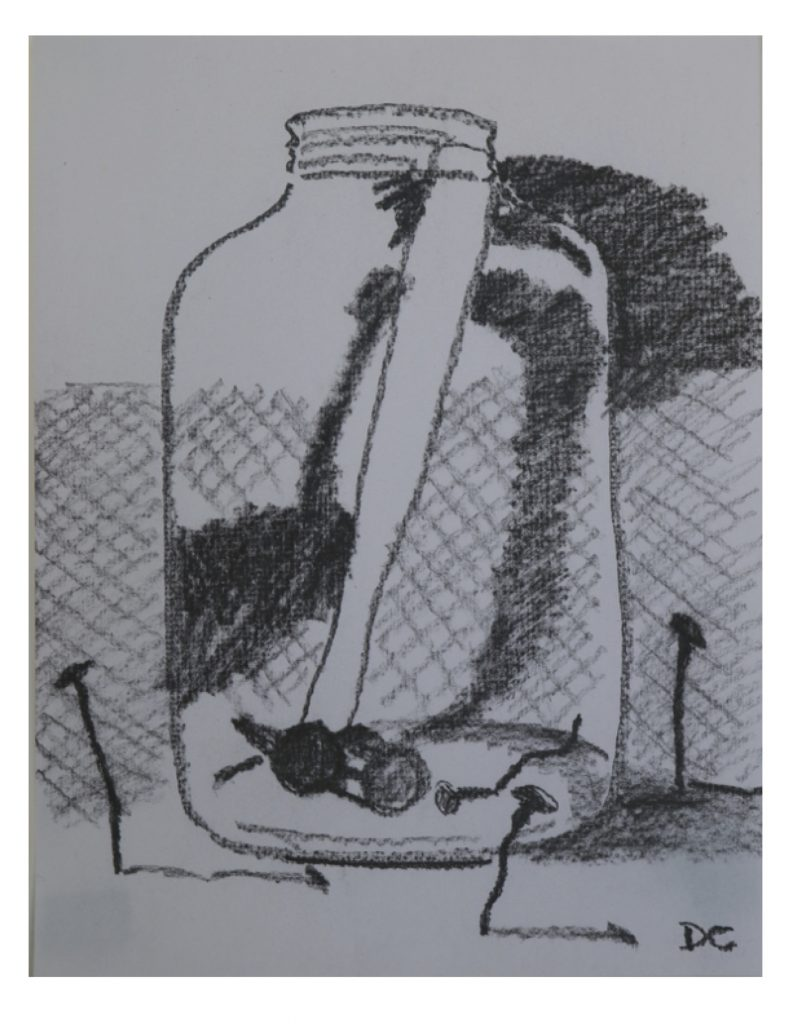 Large jar with hammer and nails, Feb 19, 2015, graphite on paper, 21.5 x 27.9 cm