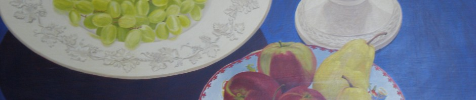 Vase with bowl of grapes and apples, oil painting on wood, 76.2 x 101.5 cm, July 1989