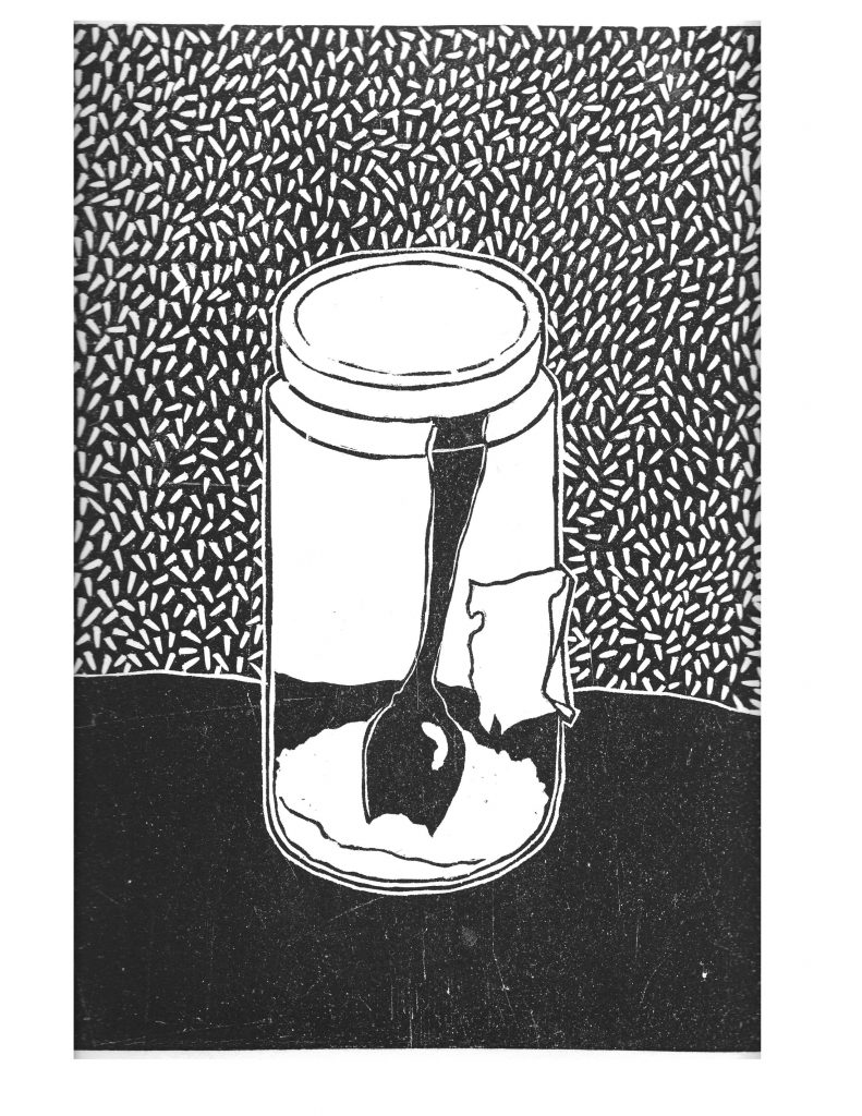Salt jar, Nov 20,1987, reduction lino print