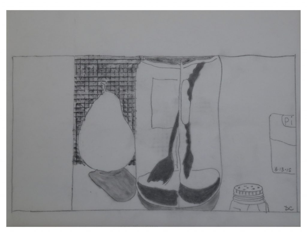 Salt jar with pear, Aug 15, 2015, pencil on paper, 21.5 x 27.9 cm