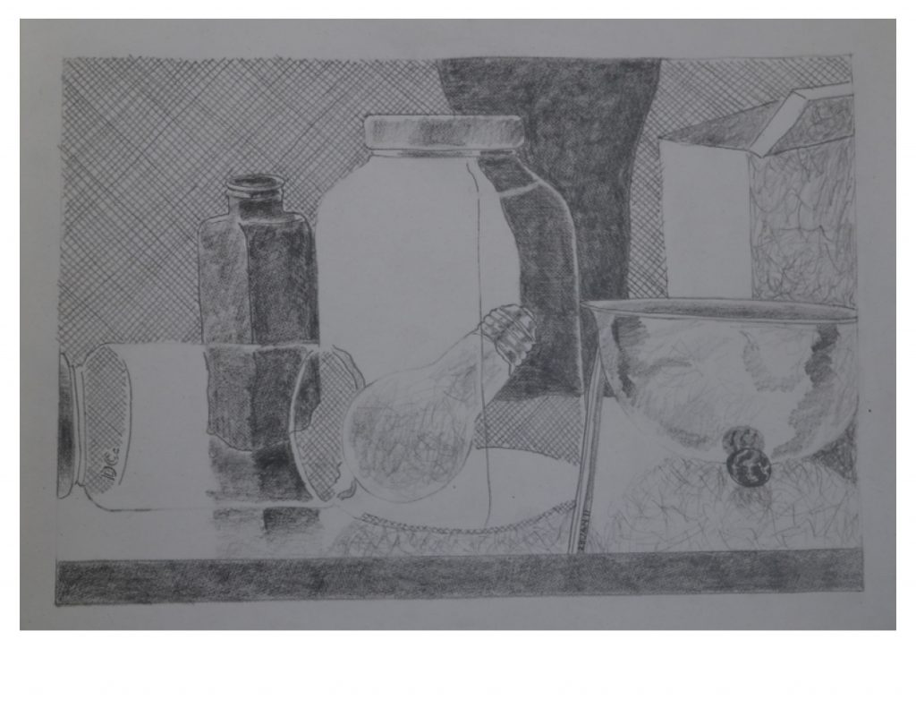 Still life, 3 jars, bowl, tin and vase, Jan 28, 2011, pencil on paper, 21.5 x 27.9 cm