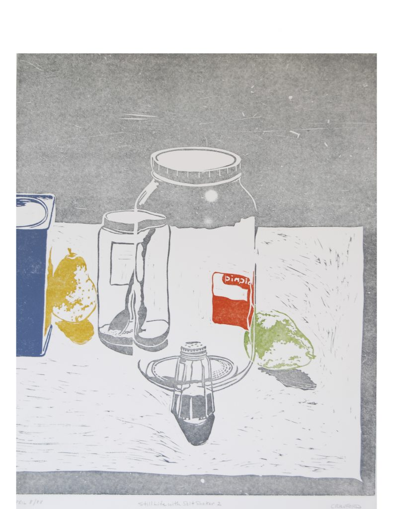 Still life with salt shaker 2, April 8, 1988, lino print