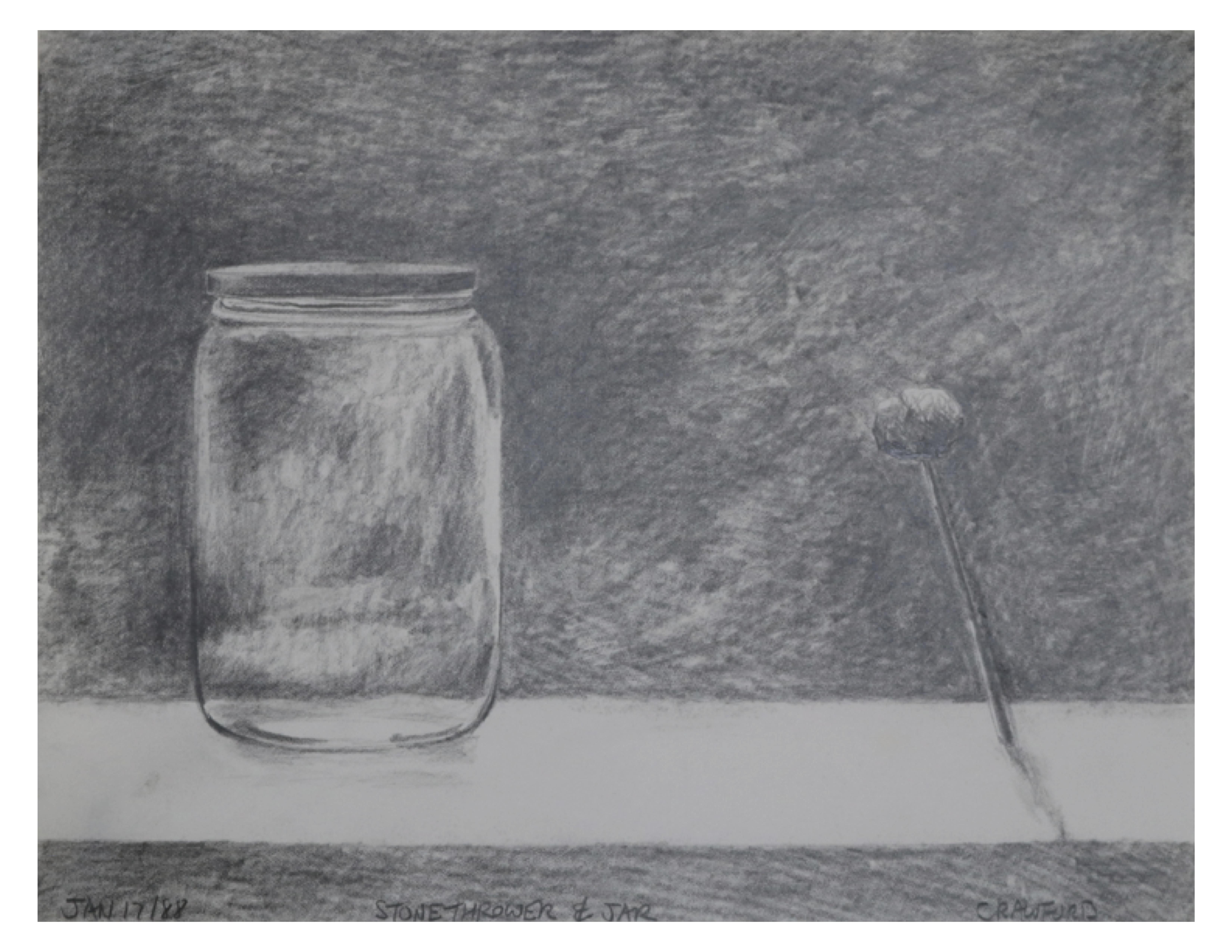 Stone thrower and jar, Jan 17, 1988, 27.9 cm x 21.6 cm