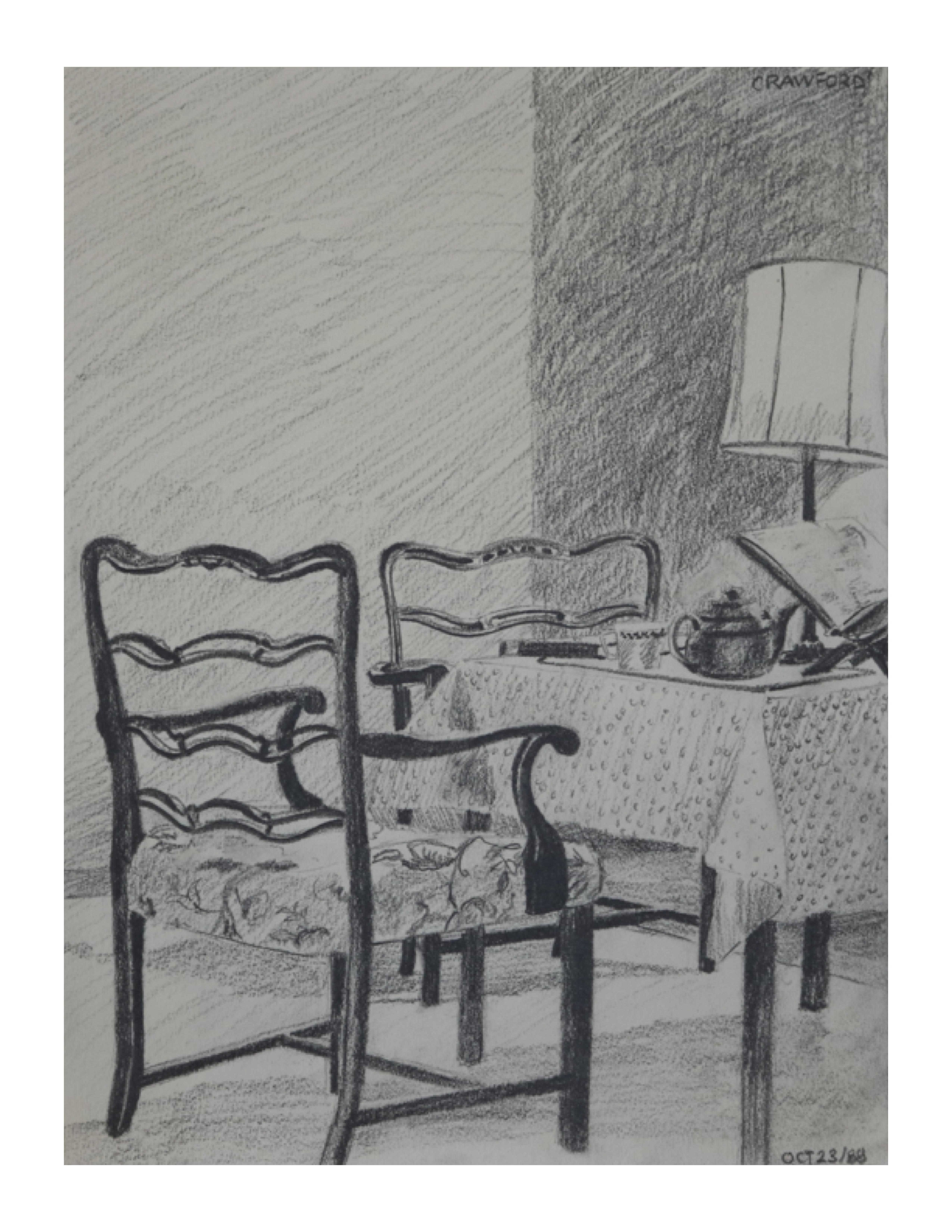 Tea time, Oct 23, 1988, pencil on paper, 22.8 cm x30.5 cm