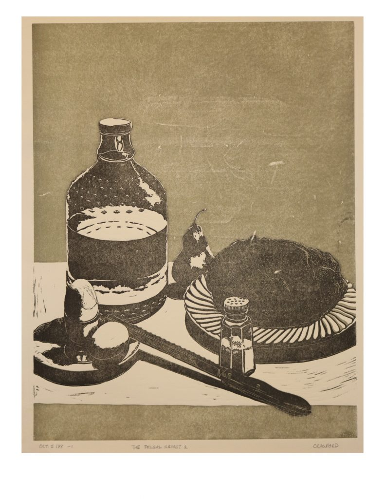 The Frugal Repast 2, Oct 5, 1988, Lino print, 49.5 x 64 cm