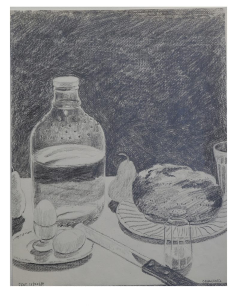 The Frugal Repast, Sept 18 - 20, 1988, pencil on paper, 21.5 x 27.9 cm