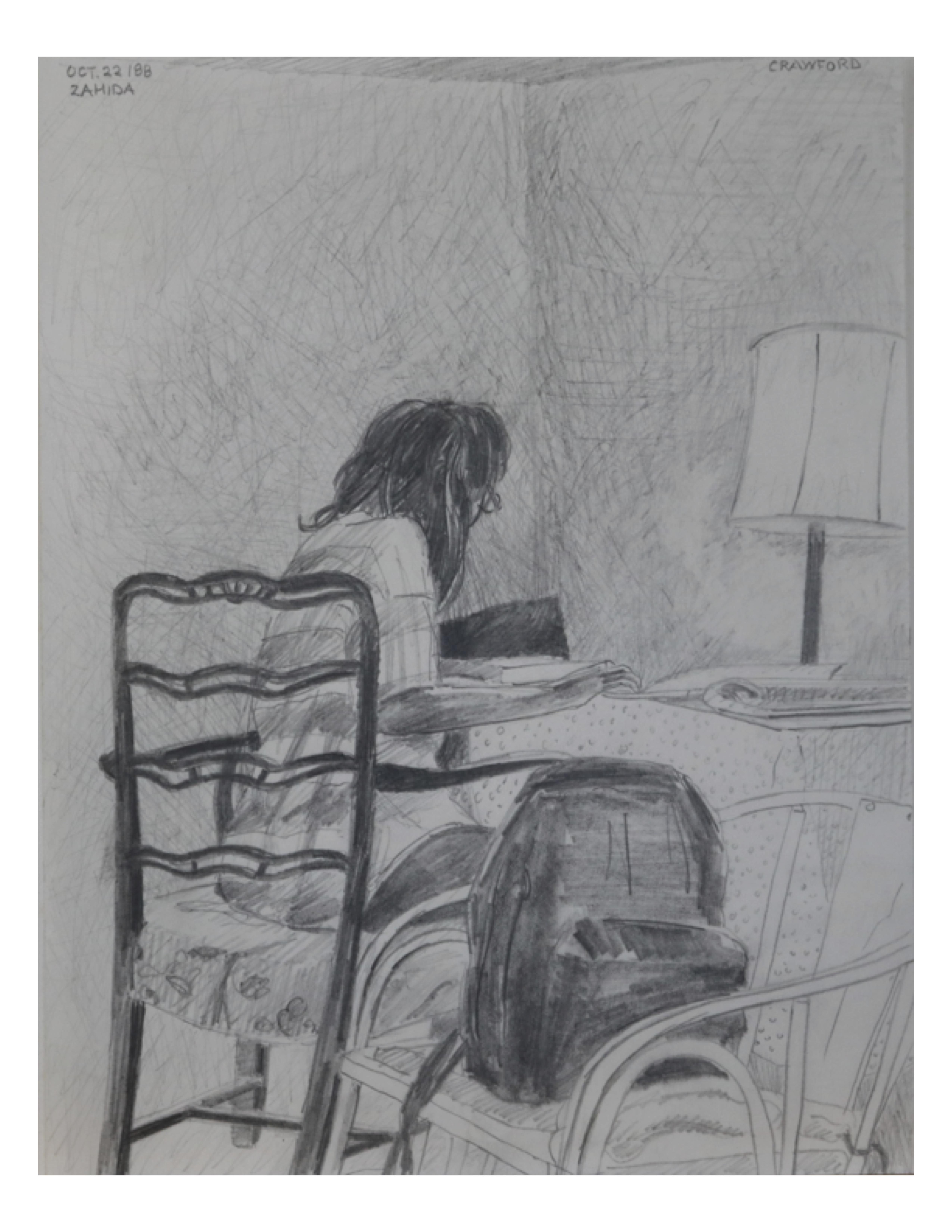 Zahida reading, Oct 22, 1988, pencil on paper, 21.6 cm x 28 cm