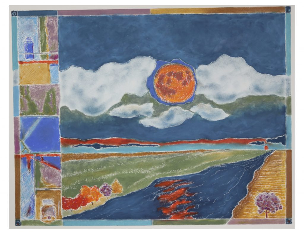 Harvest moon with stain glass windows, May 8, 2018, Pastel on museum board, 46 x 36 cm (image)