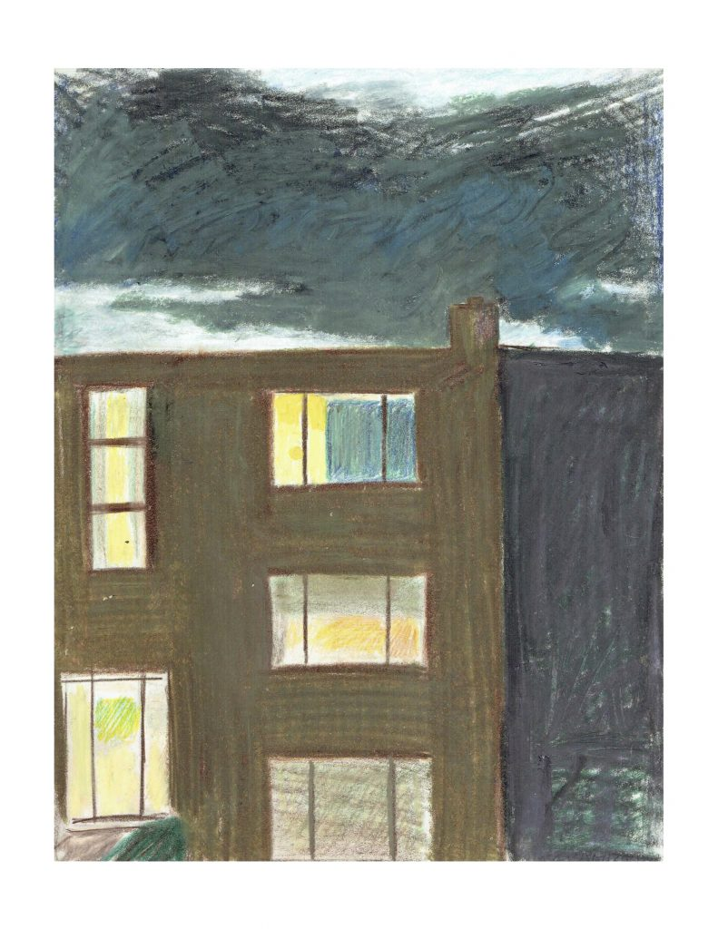 Across Craig St, Evening sunset, Oct 1980, pencil and pastel on paper, 21.5 x 27.9 cm