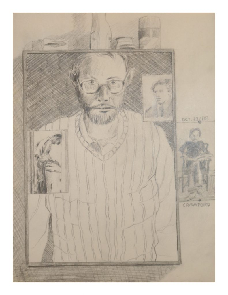 Self porttait with photos, Oct 23, 1988, pencil on paper, 21.2 x 27.9 cm